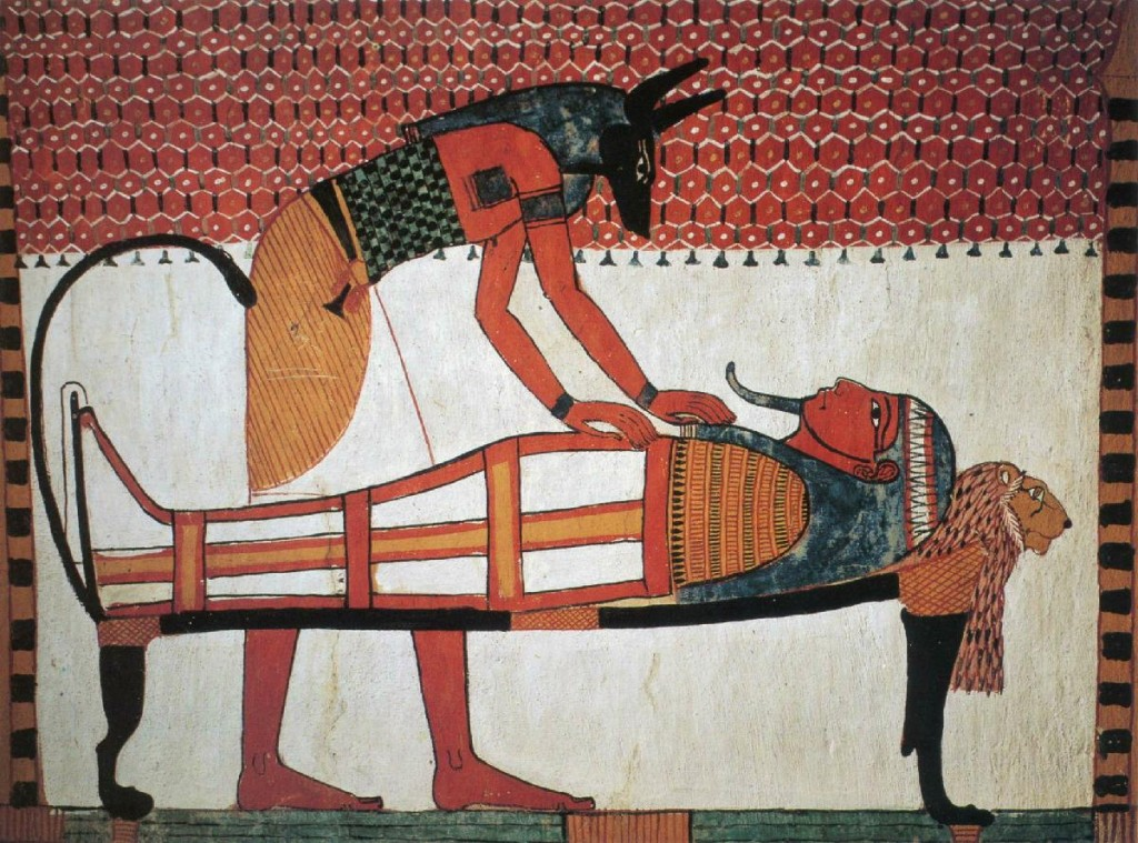 1350-BC_Tomb-of-Sennutem_Anubis-Leaning-over-Sennutem's-Mummy