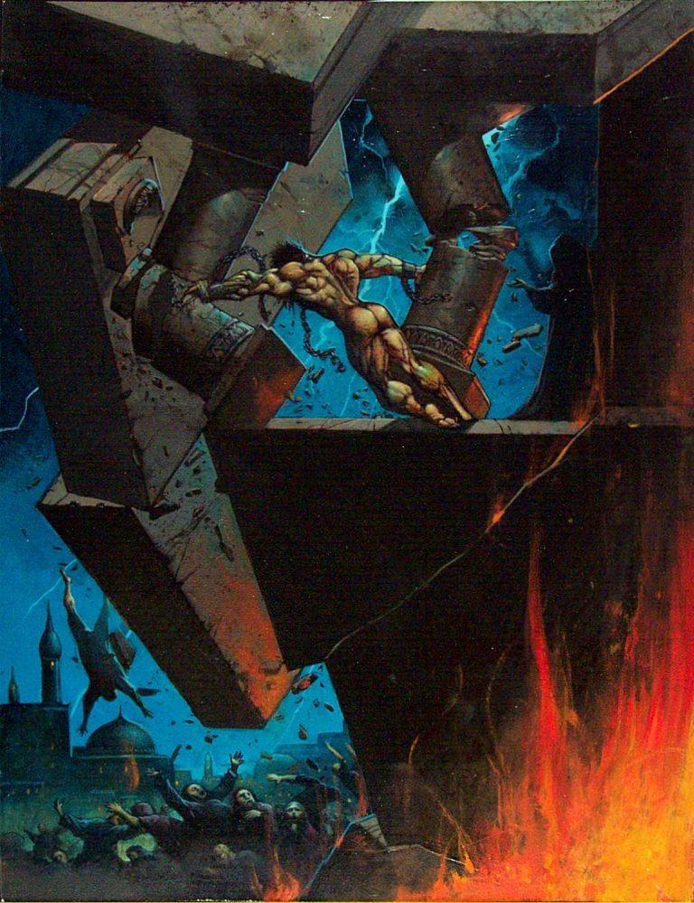 Samson vs the Philistines|By simon bisley, samson knocks over the pillars|MIsc|samson,fire