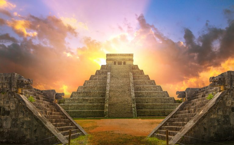 Mexico, Chichen Itza, Yucatn. Mayan pyramid of Kukulcan El Castillo at sunset