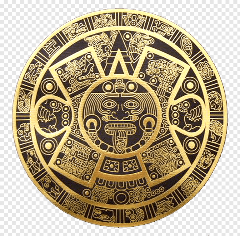 gold-colored-and-black-aztec-calendar-png-clip-art